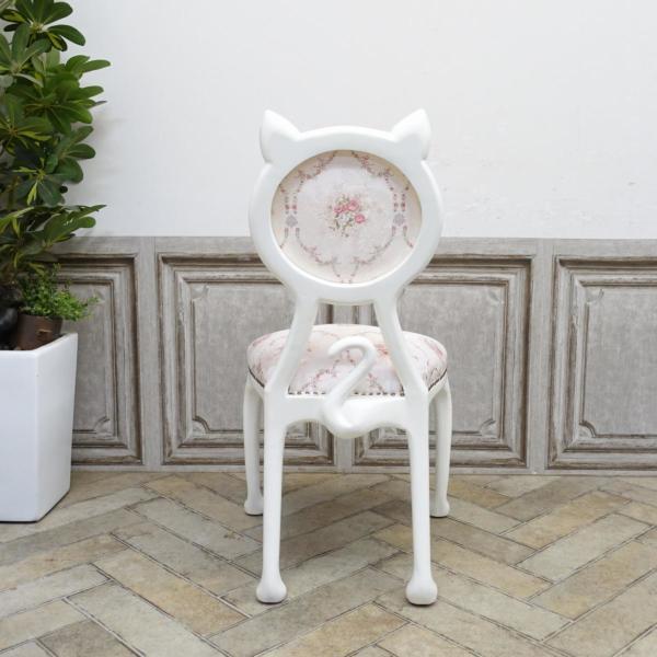 猫の形をしたアンティーク調の椅子「キャットチェア(Cat Chair)」背面イメージ