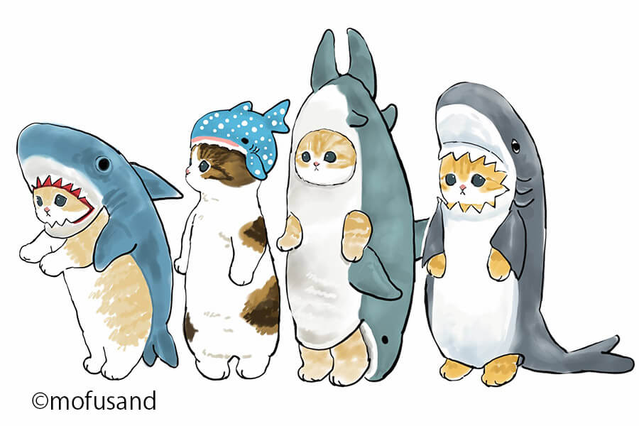 サメの着ぐるみを着た猫のイラスト by もふさんど(ぢゅの)