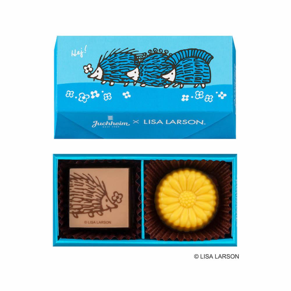 容器にハリネズミ3兄弟がデザインされた「アソーテッドチョコレート」 by ユーハイム