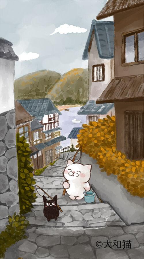 大和猫のねこイラスト