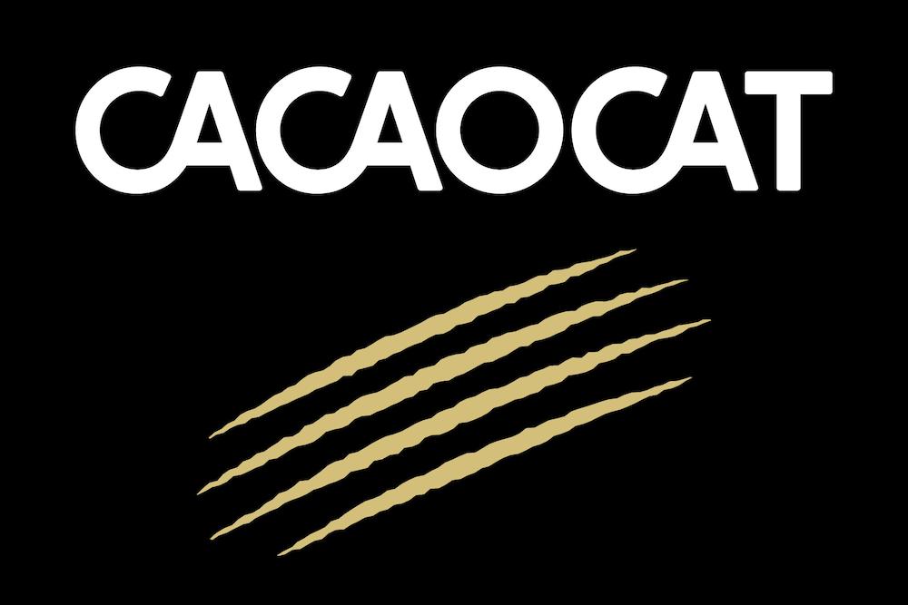 猫の爪あとがコンセプトのプレミアムチョコレートブランド「CACAOCAT(カカオキャット)」ロゴイメージ
