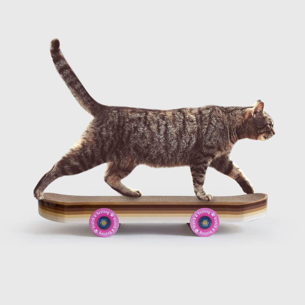 猫がスケボーに乗っているように見える爪とぎ「Cat Scratch Skateboard」