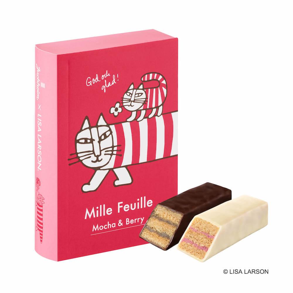 容器に猫のマイキー&ベイビーマイキーがデザインされた「ミルフィーユ5個入り」 by ユーハイム