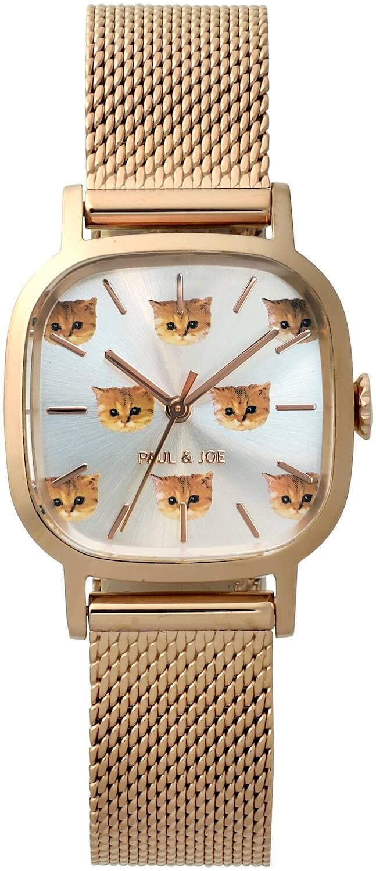 猫のヌネットが散りばめられた腕時計「Square Nounette 2021(スクウェアヌネット 2021)」 by ポールアンドジョー