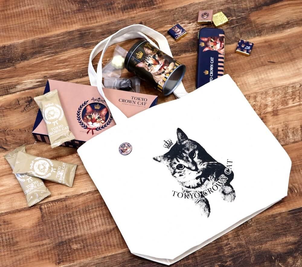 猫デザインのオリジナルトートバック付きスペシャルセット by スイーツブランドTOKYO CROWN CAT