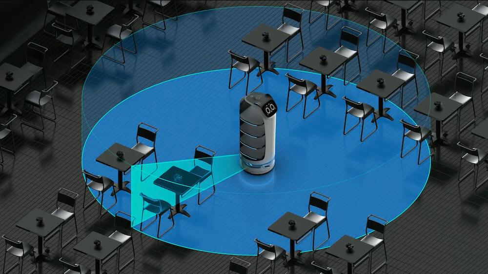 全方位3Dセンサーで障害物を検知するネコ型配膳ロボット「BellaBot(ベラボット)」