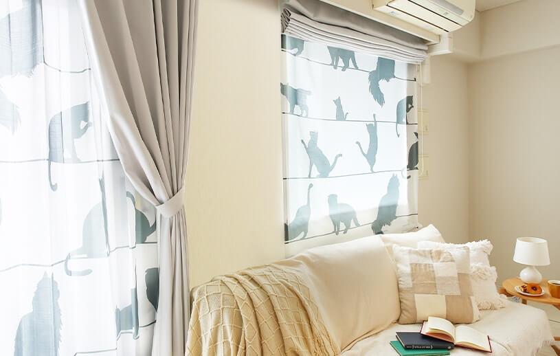 猫のシルエット柄レースカーテン「ミャウミャウ」のシェードカーテン設置イメージ