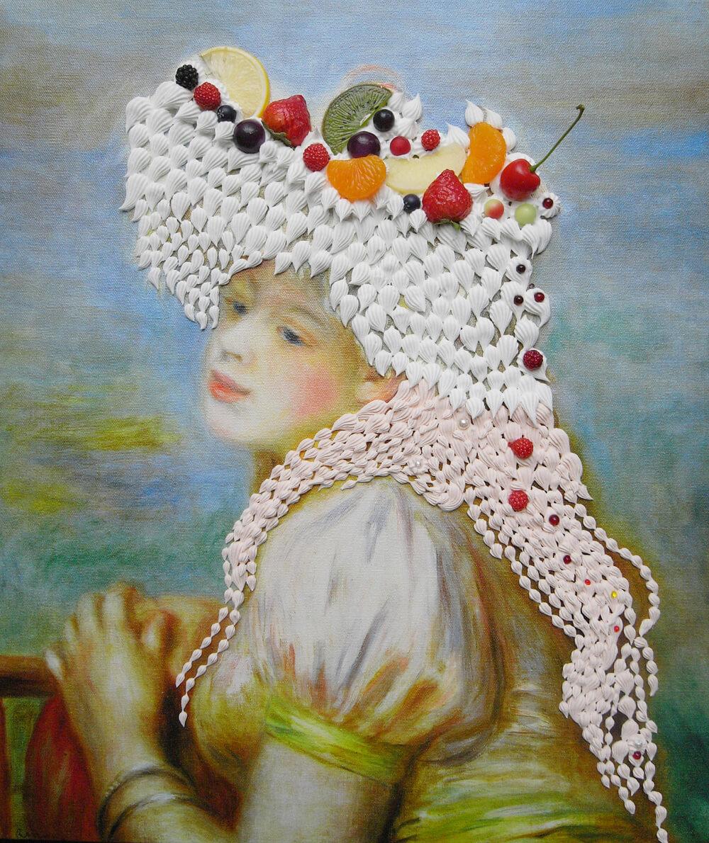 ルノワールの「レースの帽子の少女」をモチーフにしたスイーツデコアート作品 by 現代美術作家・渡辺おさむ
