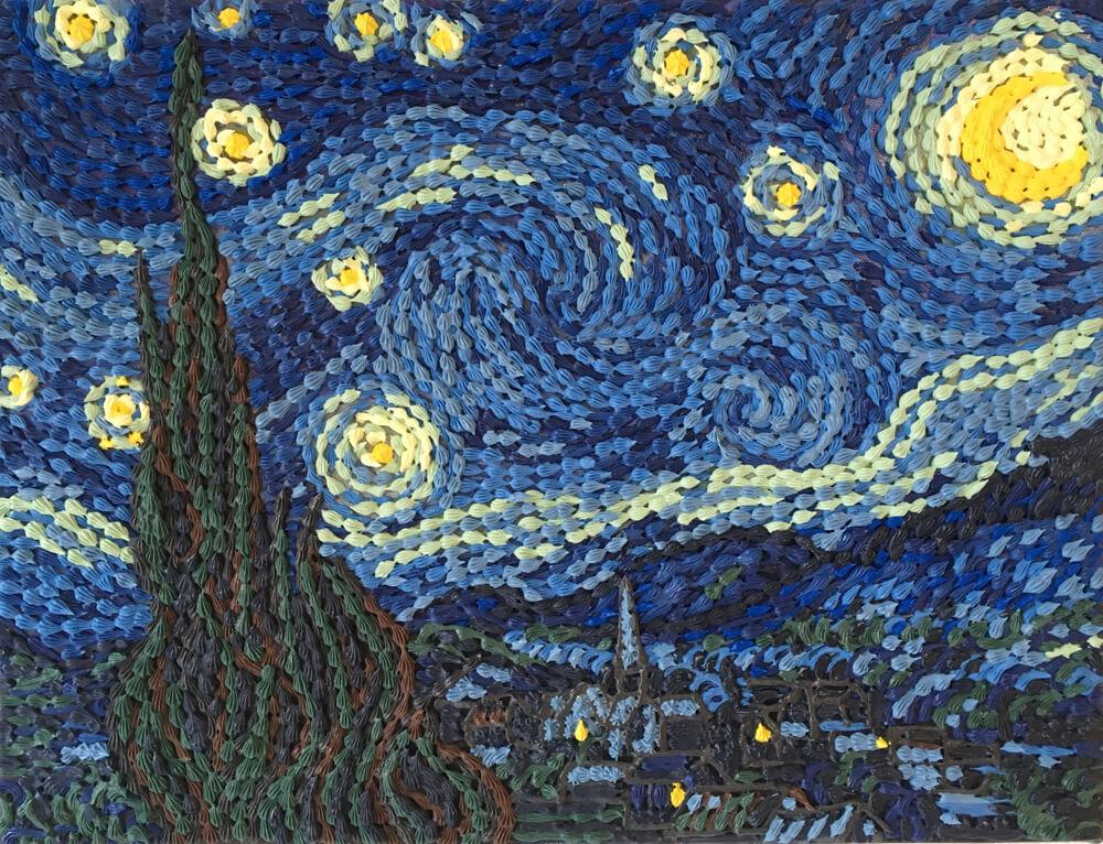 ゴッホの「星月夜」をモチーフにしたスイーツデコアート作品 by 現代美術作家・渡辺おさむ