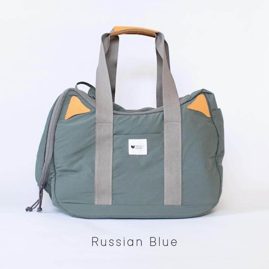 猫耳&猫デザインのボストンバッグ 「CAT 2WAY BOSTON BAG」ロシアンブルー