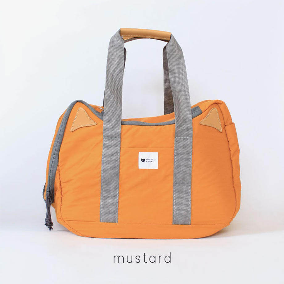 猫耳&猫デザインのボストンバッグ 「CAT 2WAY BOSTON BAG」マスタード