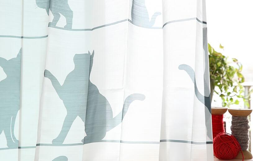 猫のシルエット柄レースカーテン「ミャウミャウ」拡大イメージ