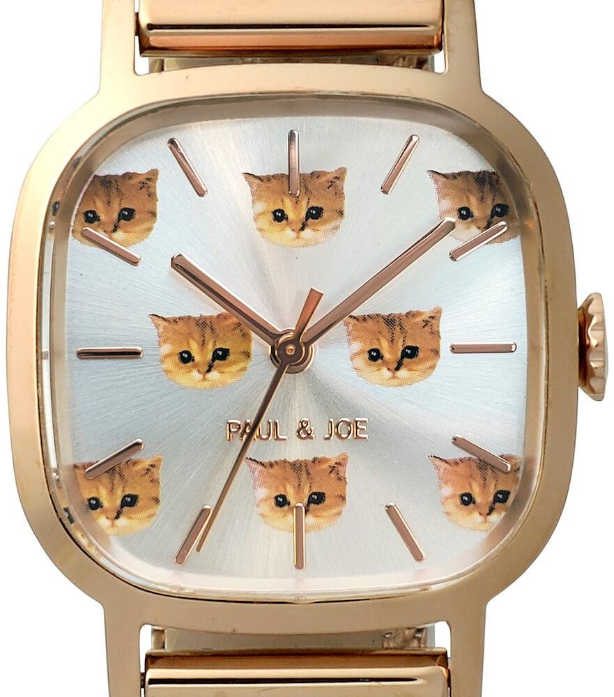 猫デザインの腕時計「Square Nounette 2021(スクウェアヌネット 2021)」の文字盤by ポールアンドジョー