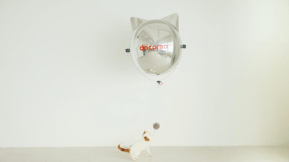 猫型ドローン「にゃろーん」に取り付けた猫じゃらしと遊ぶ猫