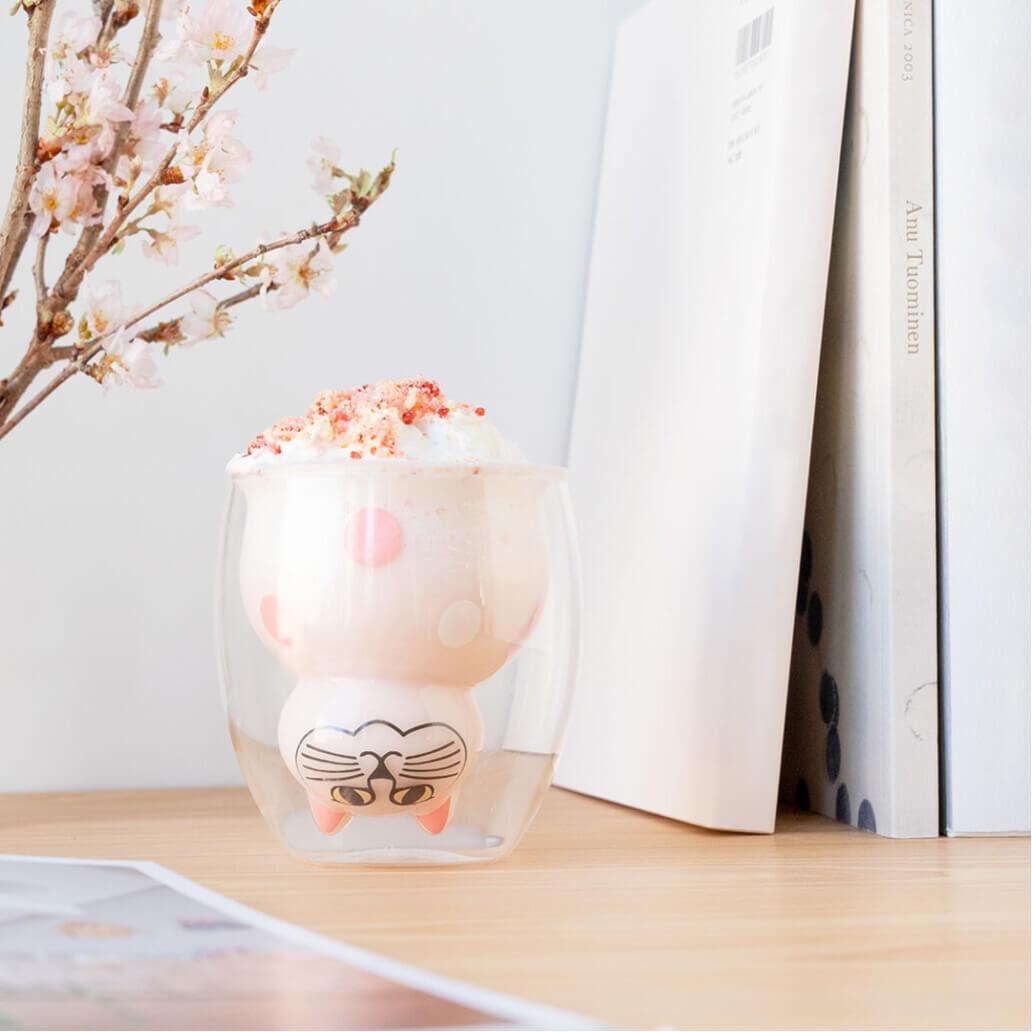 GOODGLAS(グッドグラス)とリサ・ラーソンのコラボグッズ、猫のミアをモチーフにした桜デザインのダブルウォールグラス