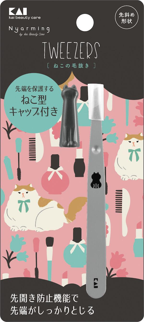 猫モチーフデザインの毛抜き by Nyarming(ニャーミング)/貝印