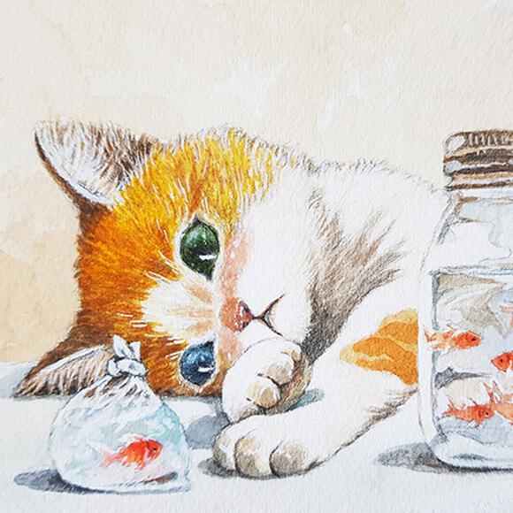 猫のイラスト by まなつ&まふゆ