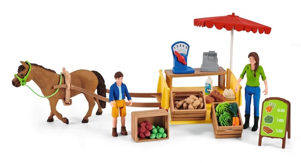 農産物市場ごっこを楽しめるフィギュア「ファーマーズマーケット」 by シュライヒ(Schleich)のファームワールド