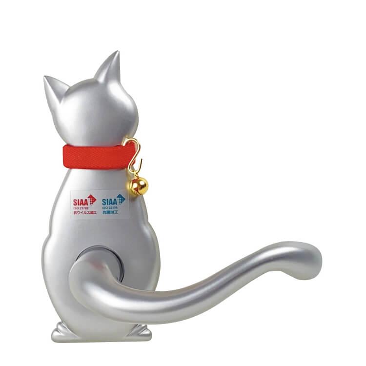 ネコ型のドアノブ&レバーハンドル「Vi-Clearわんにゃんレバーハンドル」右向きデザイン