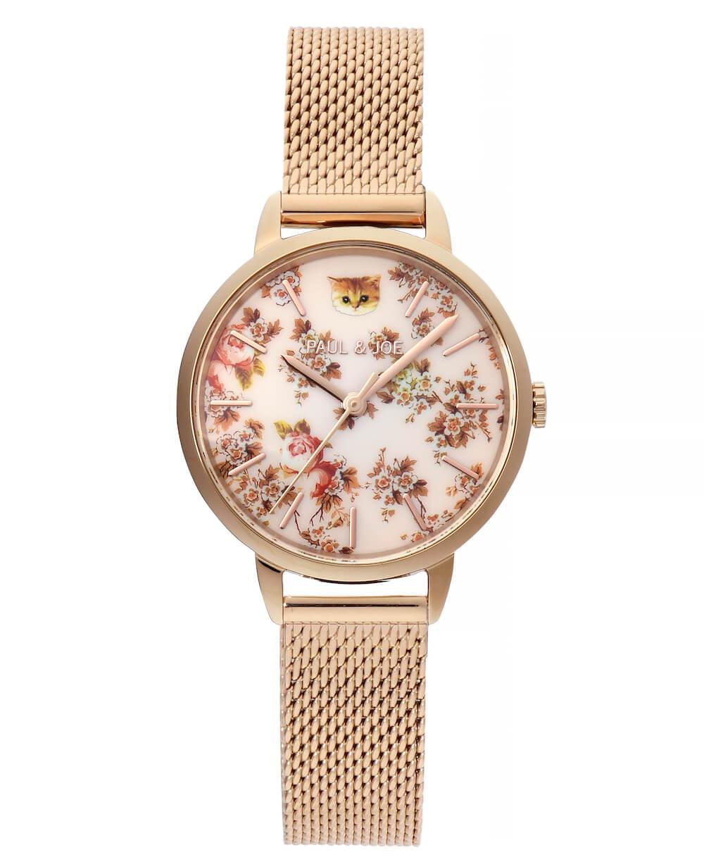 ダイアルの12時の位置に猫がデザインされた腕時計「Flower Nounette(フラワーヌネット)」 by ポールアンドジョー