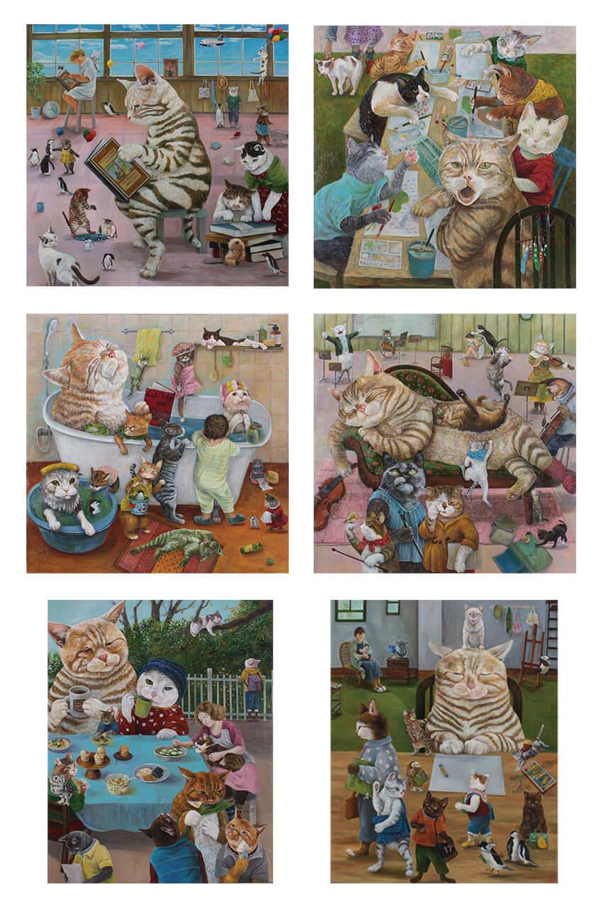 画家・田嶋香里さんによる擬人化した猫の絵画作品イメージ