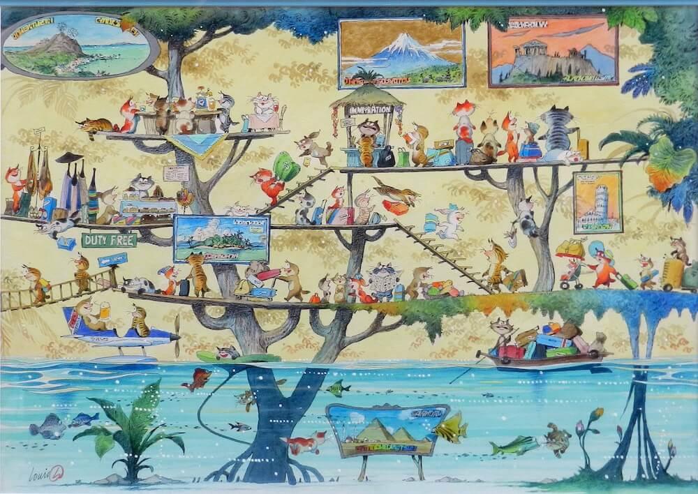猫の世界を描いた絵画作品「行くネコ、来るネコ、泳ぐネコ」 by画家ルイ・シン