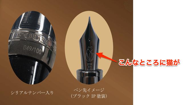 黒猫をモチーフにしたデザインの万年筆のペン先イメージ by Nonble(ノンブル)