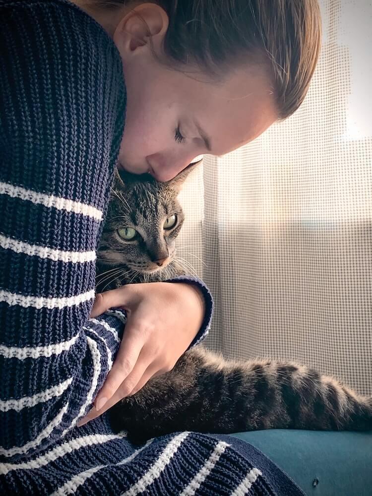 猫を抱きしめる愛猫家のイメージ写真