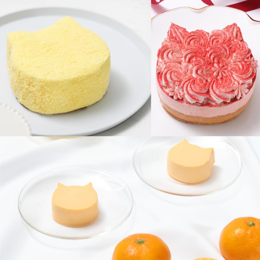 ねこねこチーズケーキの新商品3種類(もふねこチーズケーキ、イチゴ味、オレンジ味)