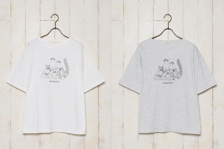 スナネコなど珍しい動物をデザインしたTシャツ 全2色カラーバリエーション