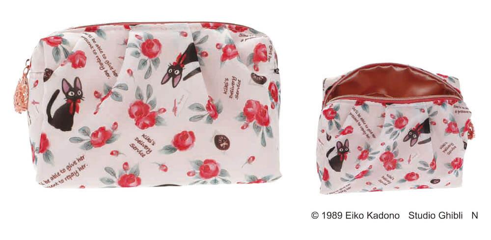 黒猫のジジと薔薇をモチーフにしたデザイン商品、OKUROSEシリーズ「メイクポーチ」
