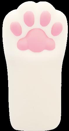 猫の手型のスクイーズ「ぷにぷに肉球にゃんこハンドスクイーズ」ノーマル白ねこ