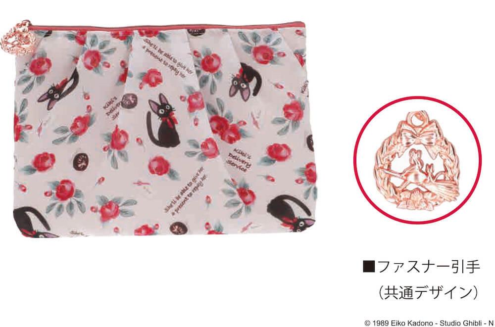 黒猫のジジと薔薇をモチーフにしたデザイン商品、OKUROSEシリーズ「フラットポーチ」