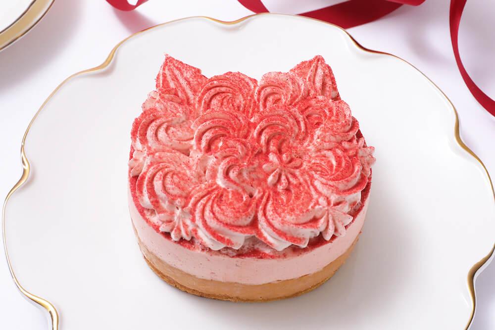 いちご尽くしの猫型チーズケーキ「ねこねこWチーズケーキ いちご」製品イメージ by ねこねこチーズケーキ