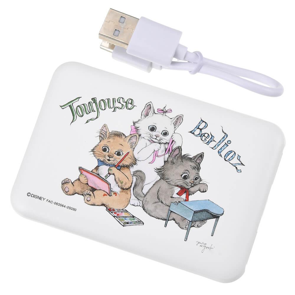ヒグチユウコがデザインした「おしゃれキャット、マリー・ベルリオーズ・トゥルーズ」のモバイルバッテリーチャージャー