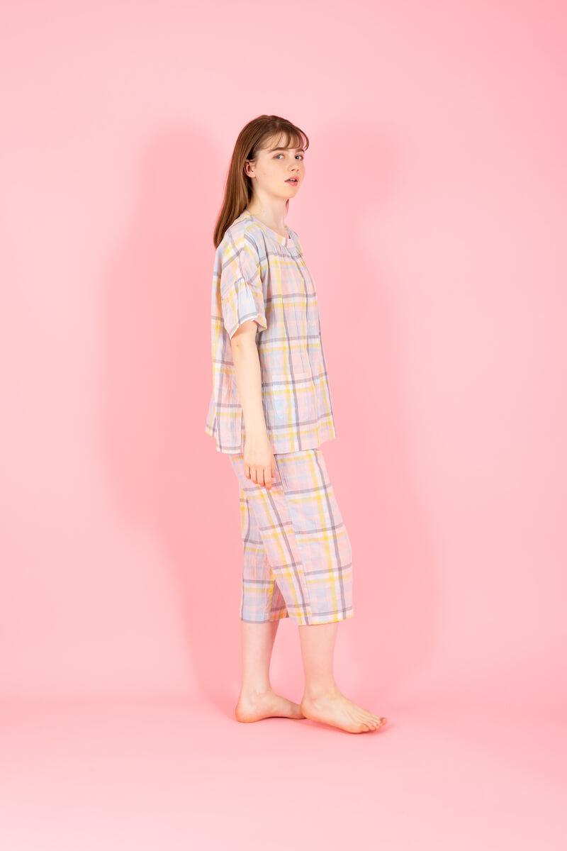 シャーリングチェック半袖パジャマ by ポールアンドジョーのホームウェア