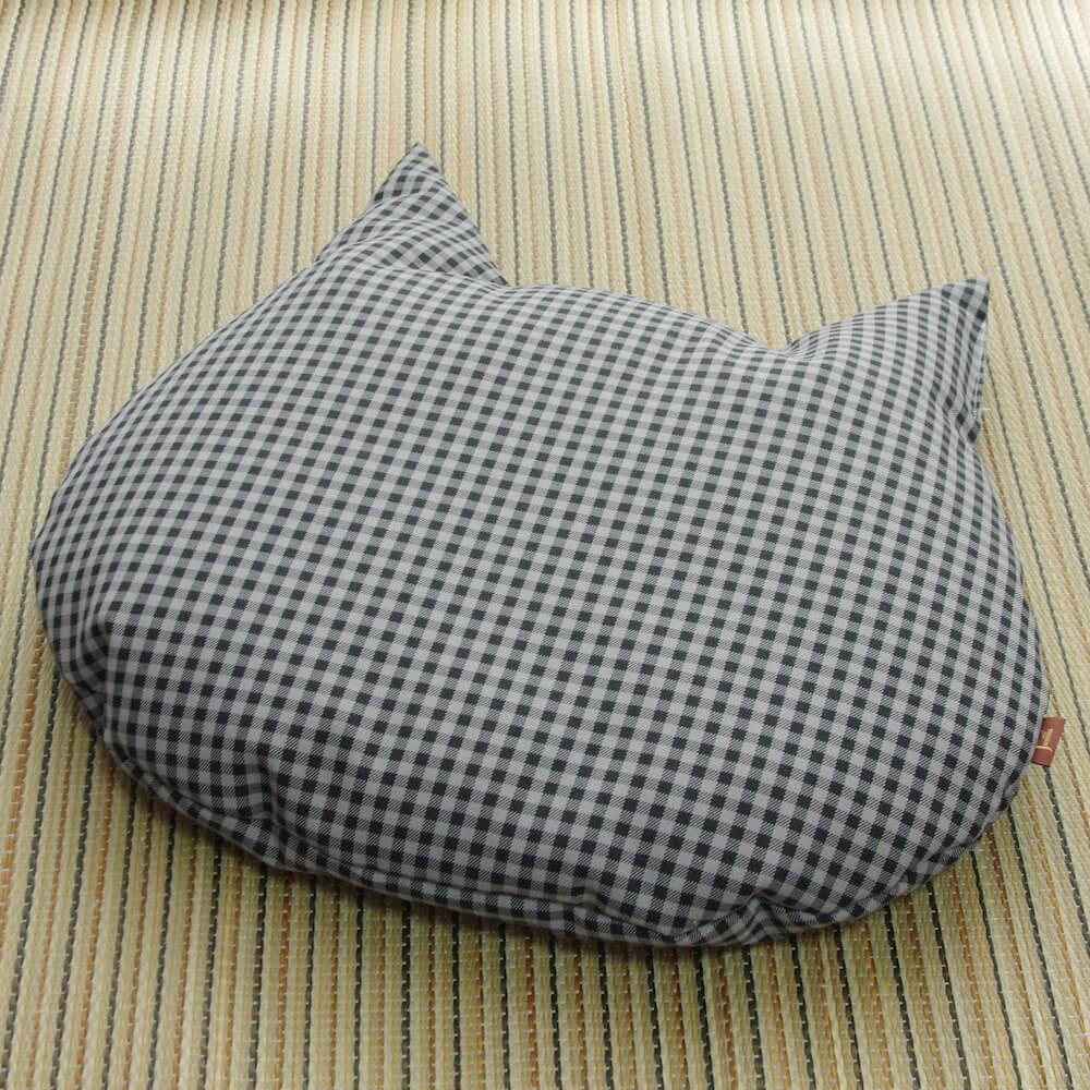 猫用の羽毛座布団「猫のしあわせ座布団」グレーチェックカラー