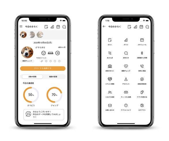 犬猫用の活動量計 Plus Cycle(プラスサイクル)の専用アプリ画面イメージ