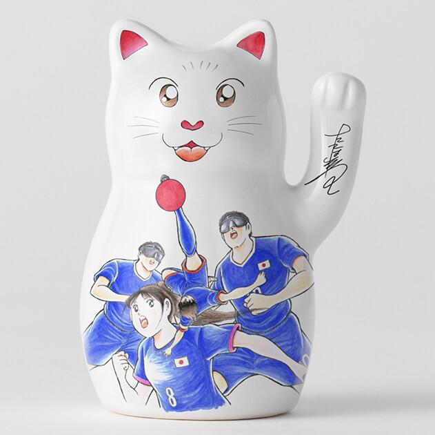 漫画家・高橋陽一のイラストがデザインされた招き猫(拡大イメージ)