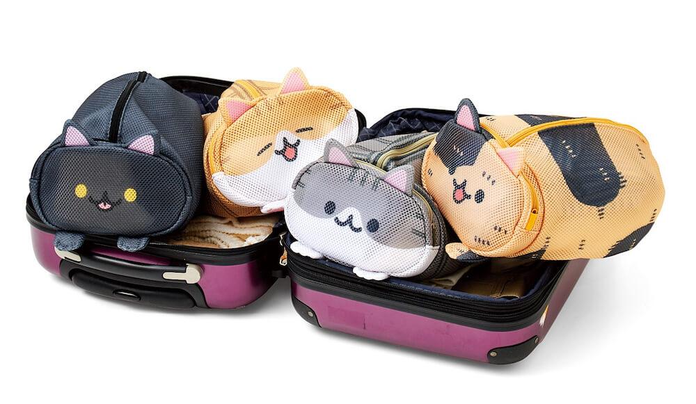 旅行の仕分けポーチとしても使える洗濯ネット「香箱座り猫のお洗濯ポーチ」