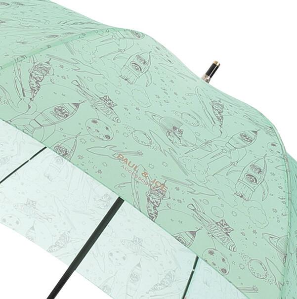 宇宙船に乗り込んだ猫をユーモアたっぷりに描いた「スペースキャット」柄の拡大画像 by PAUL & JOE(ポールアンドジョー)の傘