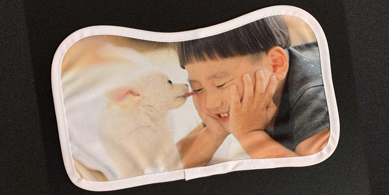 写真を印刷することもできる「競馬風ミニゼッケン」