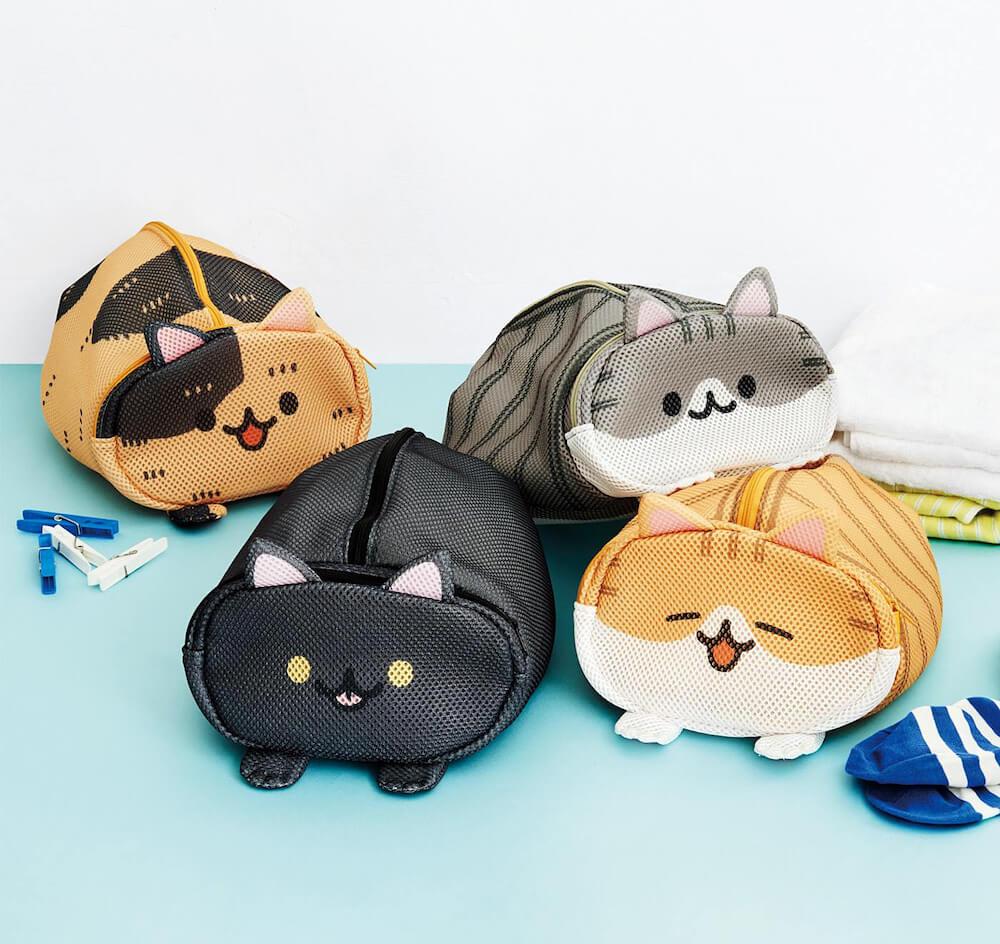 香箱座りをした猫を再現した洗濯用ポーチ 製品イメージ・全4種類