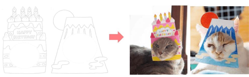 猫の顔出しパネル(はめ猫)が作れる塗り絵つき by 写真集「むぎゅっとニャ! はめ猫」