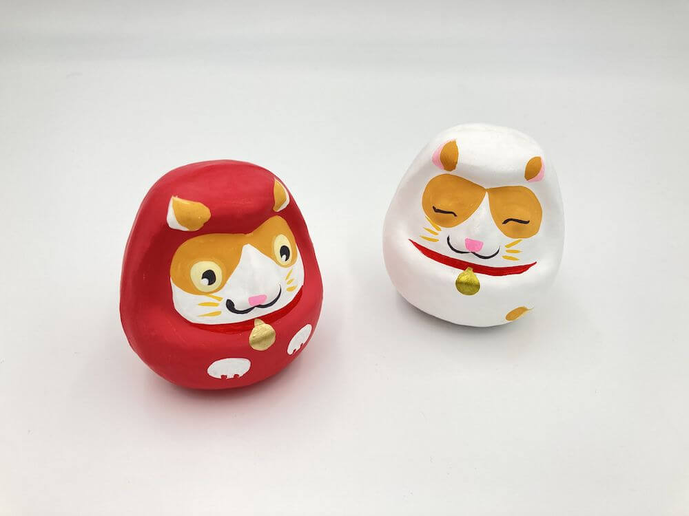 備中松山城の猫城主「さんじゅーろー」のだるま紅白セット