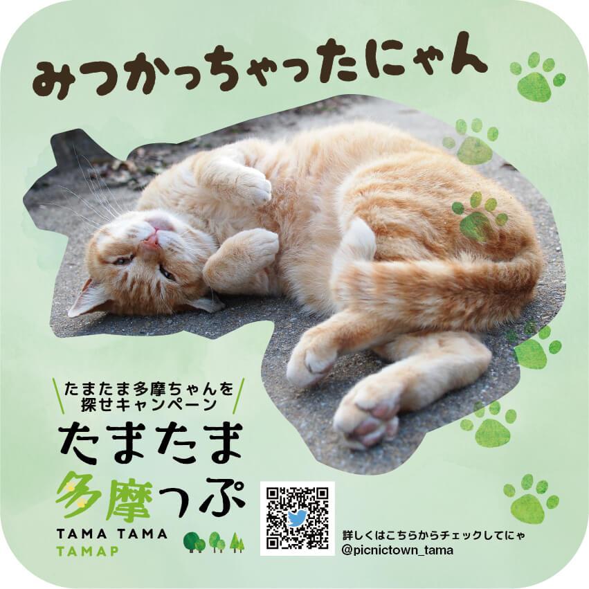 多摩区の猫ステッカー「たまたま多摩ちゃん オリジナルステッカー」