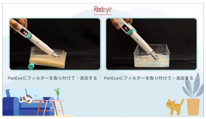 猫の尿検査ができる測定器「PetEye1(ペットアイワン)」の検査イメージ
