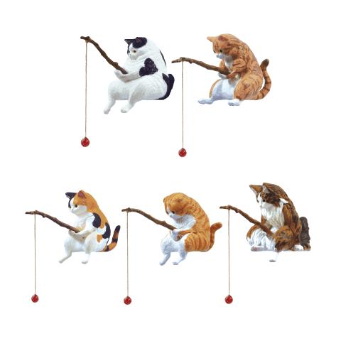 カプセルフィギュア「釣り日和~猫たちのひまつぶし~」ミックス、マンチカン、みけ猫、スコティッシュフォールド、ノルウェージャンフォレストキャット