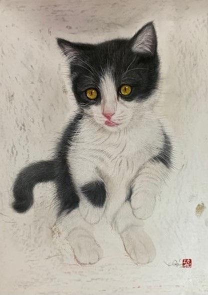 画家・市来功成の描いた黒白ハチワレ子猫の絵画、作品タイトル「なんでもないことが」