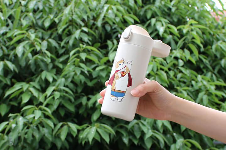 ぢゅの雑貨「もふさんど」のステンレスワンプッシュボトル by ブルーブルーエ